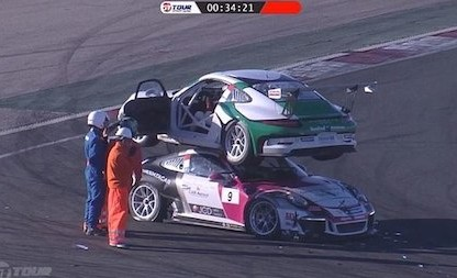 Porsche 911 GT3 Cup Cars Make Contact At The Circuit de Navarra. What Happens After Is Just Bizarre