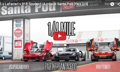 "918 Spyder vs. McLaren P1 vs. LaFerrari 1/4 Mile: Part 2 of the ""Holy Trinity"" Shootout"