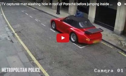 Thief Caught On Camera Cutting Hole In Cabriolet In Attempt To Steal Porsche