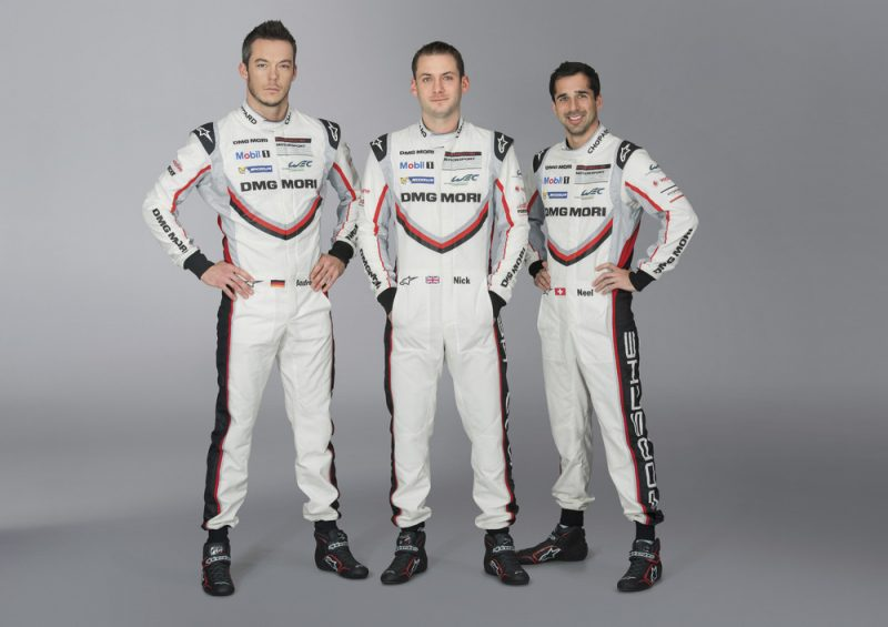 Porsche factory drivers André Lotterer, Nick Tandy and Neel Jani, standing together for a LMP driver line-up photo
