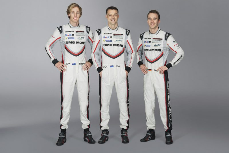 Porsche factory drivers Brendon Hartley, Earl Bamber and Timo Bernhard standing together for a LMP driver line-up photo