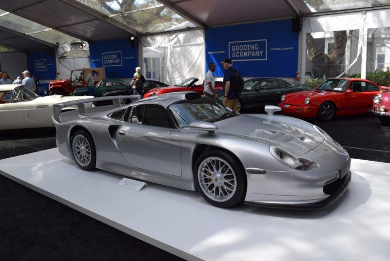 Porsche 911 GT1 on display at Gooding & Company auction tent during Amelia Island 2017