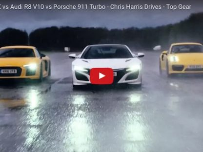 Top Gear's Chris Harris Take a R8 V10, Acura NSX and a 911 Turbo Drag racing….in a downpour.