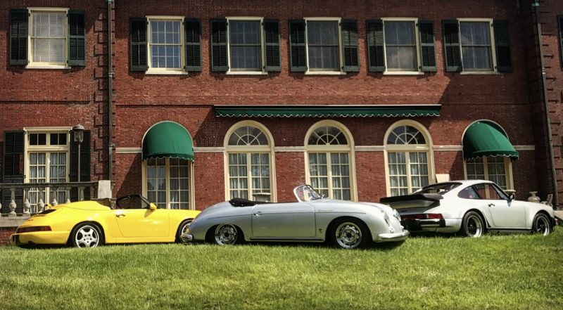 porsches on the lawn at the Max Hoffman Estate in Long Island
