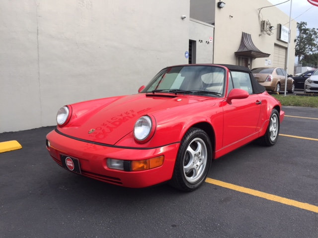 Red 964 Cabriolet on cup wheels