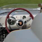 Steering wheel of a Porsche RSK at Amelia Island