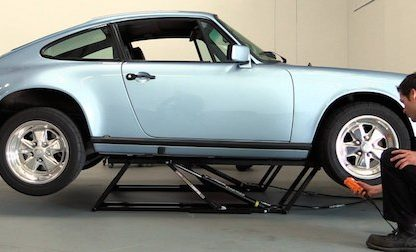 porsche on lift for pre purchase inspection ppi