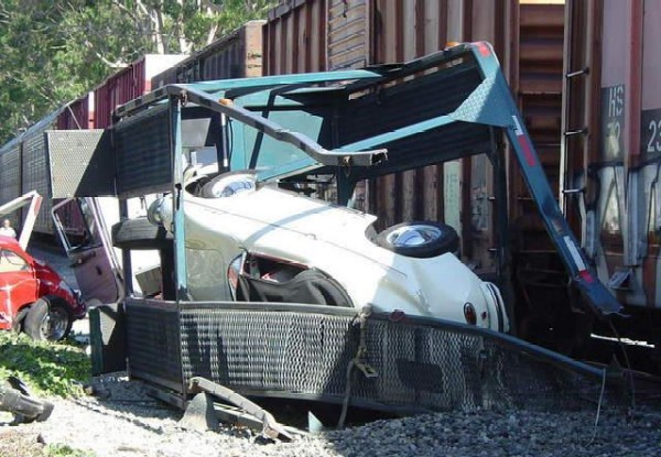 Train Strikes Car Carrier In Ventura Loaded With Vintage