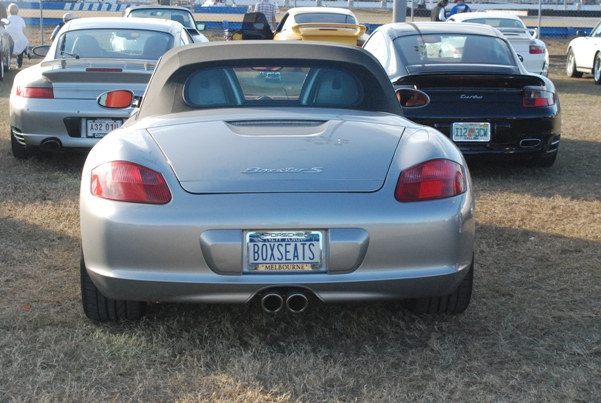 Boxseats license plate on a Porsche Boxster