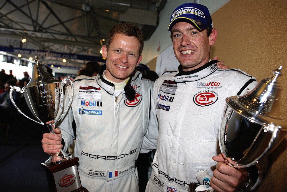Emmanuel Collard and Richard Westbrook with Trophy for FIA GT Championship