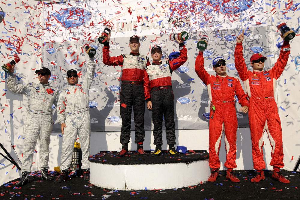 Joerg Bermeister and Patrick Long on the Podium at the Lime Rock North East Grand Prix