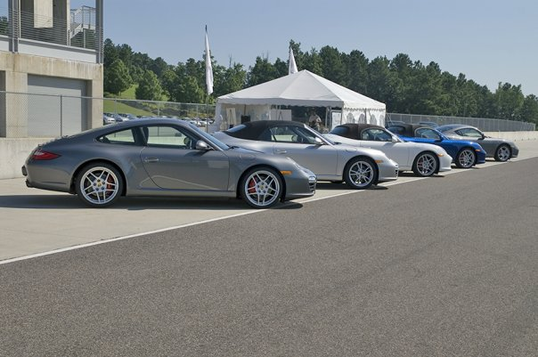 The Line-up of Porsches at the Sport Driving School