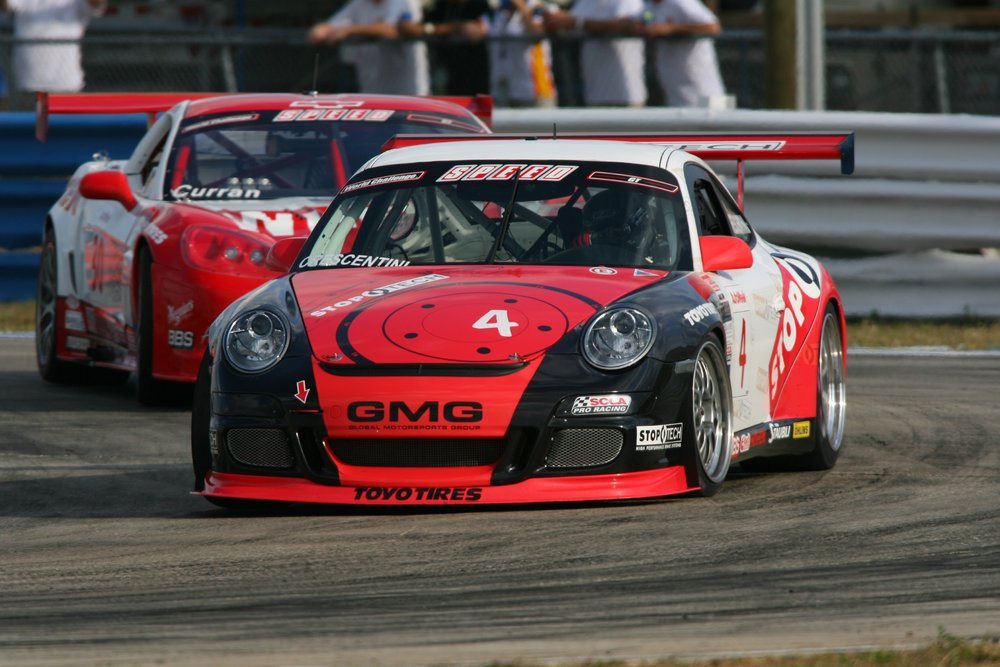 Dino Crescentini driving his Porsche at Watkins Glen