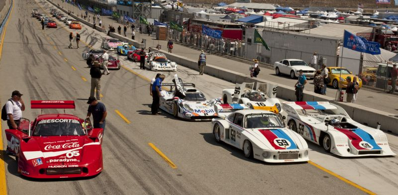 Porsches line-up for the Parade to honor Bob Carlson and Bob Snodgrass at the 2009 Rolex Monterey Historic Races