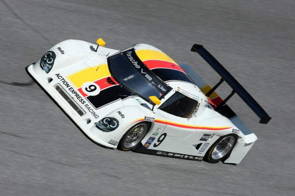 Action Express Porsche on the banking at Daytona