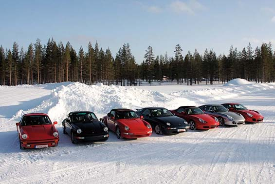 classic Porsches in line for winter tire testing
