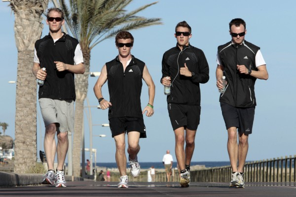 Joerg Bergmeister Patrick Long Marco Holzer Marc Lieb jogging at the Porsche fitness camp