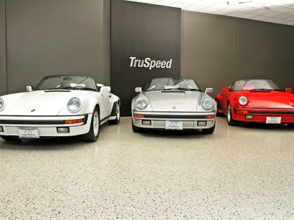 a trio fo 1989 Porsche Speedsters at Truspeed Motorcars