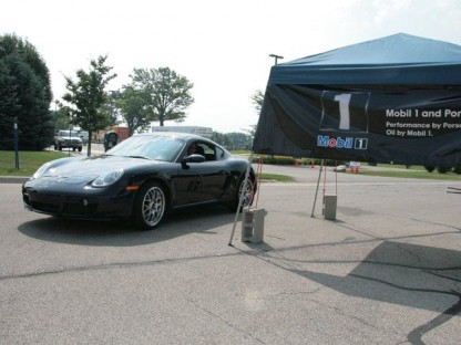 Porsche Cayman at the Start of the Mobil1 TSD Rally