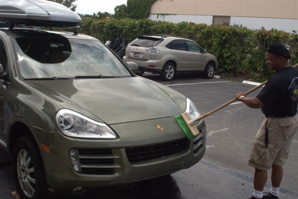 washing a Porsche Cayenne