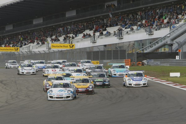Porsche 911 GT3 Cup cars racing in Germany