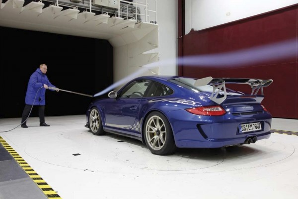 Porsche Engineer testing a 911 GT3 RS in a wind tunnel
