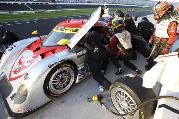 Flying Lizard daytona prototype in the pits
