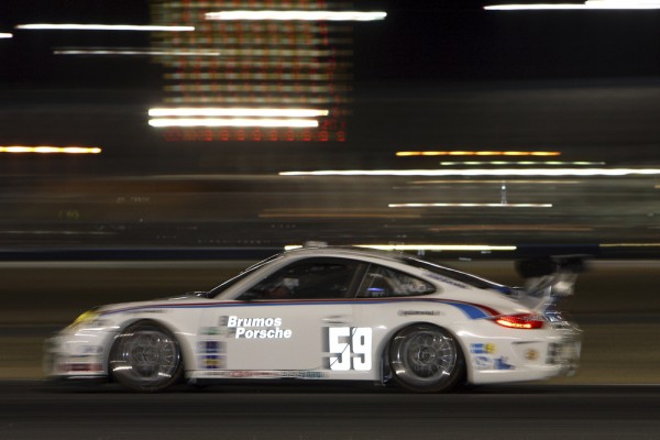 Brumos #59 Porsche at night in Daytona