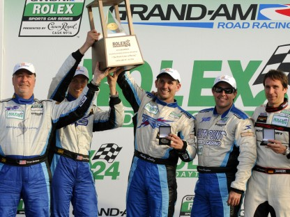 TRG #67 TRG Team of Andy Lally Spencer Pumpelly on Podium at Daytona
