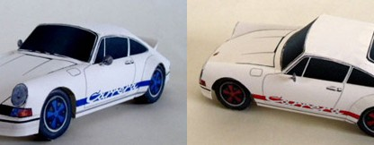 Origami Porsches made from paper