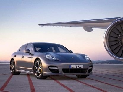 Porsche Panamera Turbo S on a runway