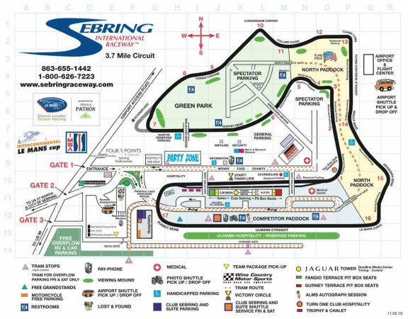 Map of the track and infields at Sebring Raceway