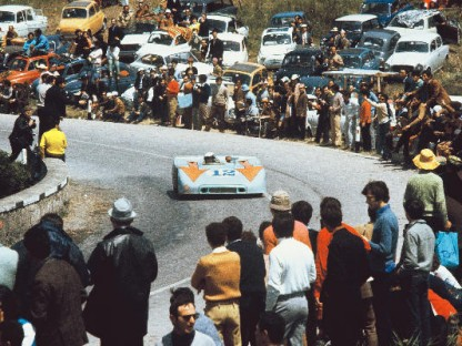 Brian Redman driving the winning Porsche 908 in the 1970 Tarog Florio