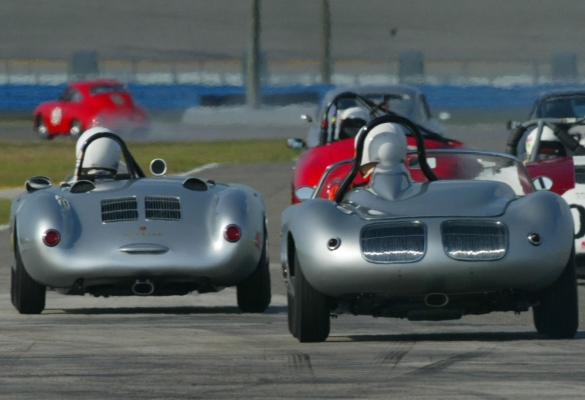 silver antique porsche racing on track