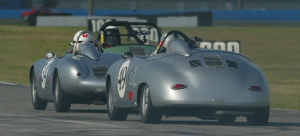 two historic silver porsches racing