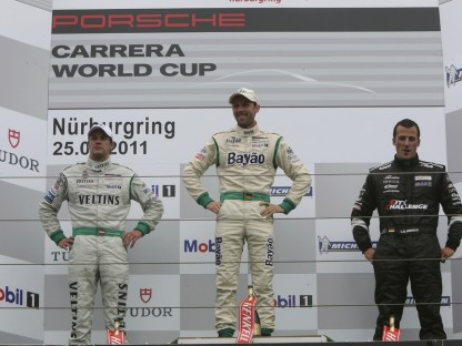 Rene-Rast on Podium at Porsche Carrera World Cup