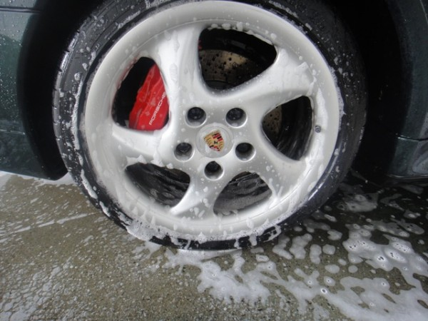 Porsche wheel with griots heavy duty wheel cleaner applied