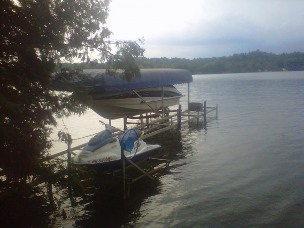 Boat and jet ski prepared for hurricane Irene