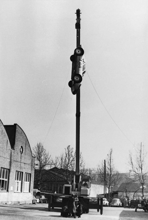 An early Porsche crash test at Weissach, 1966: a 904 Carrera GTS race car is dropped from a height of 10m to assess the strength of its glassfibre-reinforced body