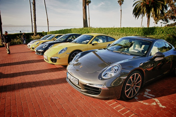 Porsche 911s lined up at media launch in Santa Barbara