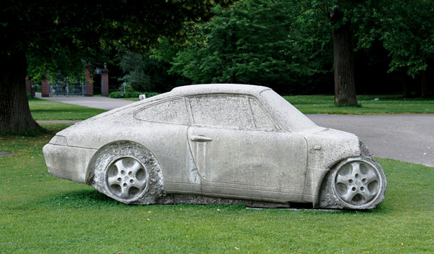 concrete porsche smashed by gottfried bechtold