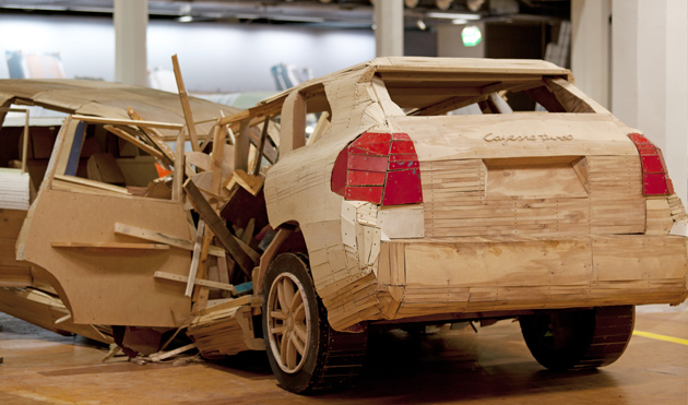 Porsche Cayenne built from Wood