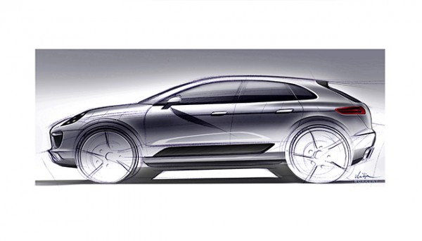 drawing of the Porsche macan suv