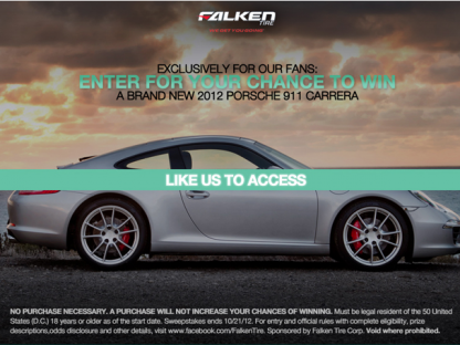 """Like"" Falken Tire on Facebook and Enter for a Chance to Win a New Porsche 911"