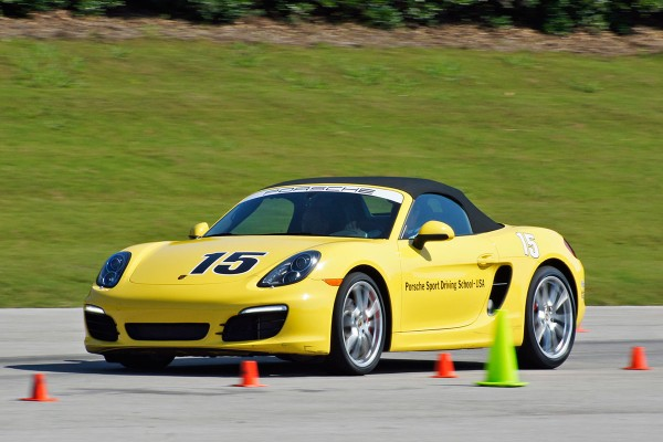 Yellow 2013 Porsche Boxster at the Porsche Sports Driving School