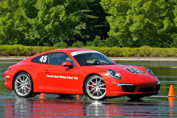 new Porsche 911 on skid pad at Porsche Sports Driving School