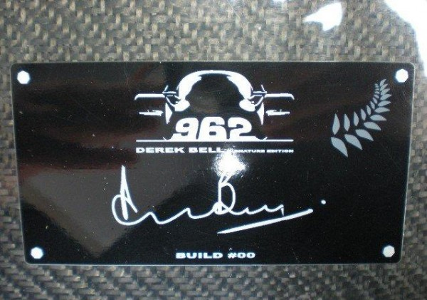 The Build Plate on the Derek Bell Porsche 952 Signature Edition