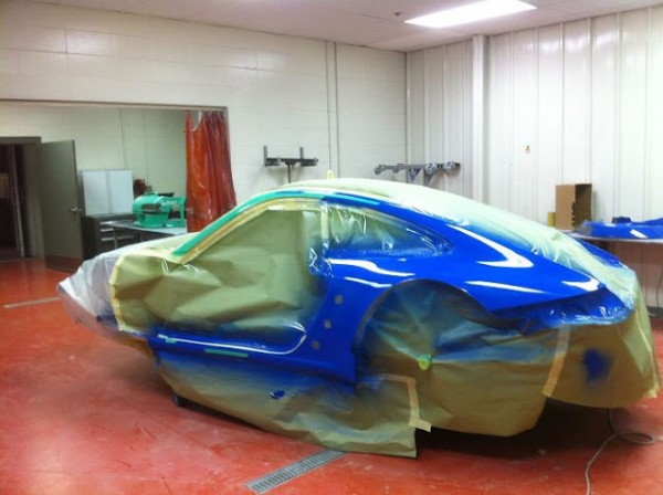 falken Porsche getting blue paint