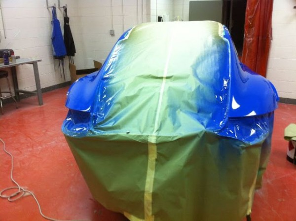 team Falken Porsche getting clear coat applied