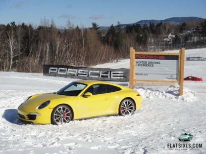 porsche winter driving experience sign at Sugarbush Resort, VT